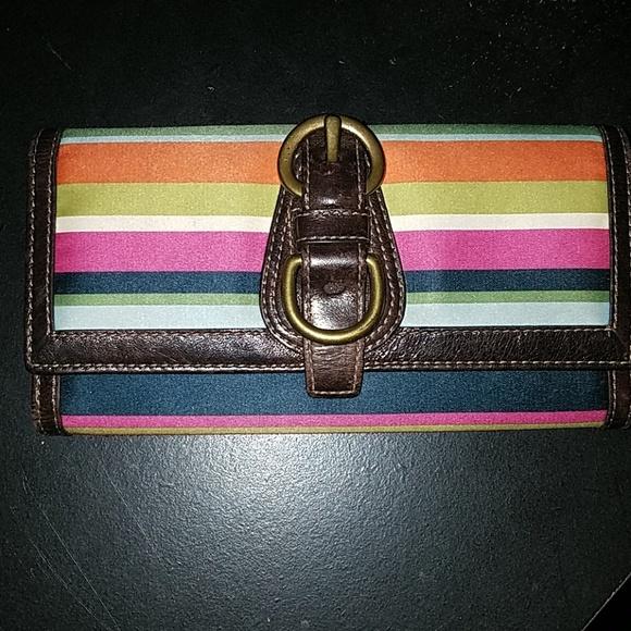 Coach Handbags - Colorful Stripped Coach Wallet